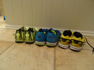 Her er skoene som fikk kjørt seg i Oslo maraton: Fra venstre: Wave Hitogami, Wave Sayonara og Wave Aero